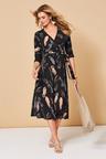 Kaleidoscope Feather Print Wrap Dress