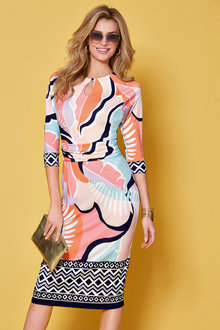 Kaleidoscope Keyhole Neckline Printed Dress - 250511