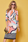 Kaleidoscope Keyhole Neckline Printed Dress