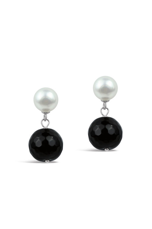 By Fairfax & Roberts Real Freshwater Pearl and Onyx Double Drop Earrings