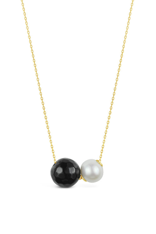By Fairfax & Roberts Real Freshwater Pearl and Onyx Double Slider Necklace