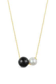By Fairfax & Roberts Real Freshwater Pearl and Onyx Double Slider Necklace - 250528