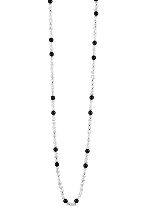 By Fairfax & Roberts Baroque Pearl and Onyx Flapper Necklace