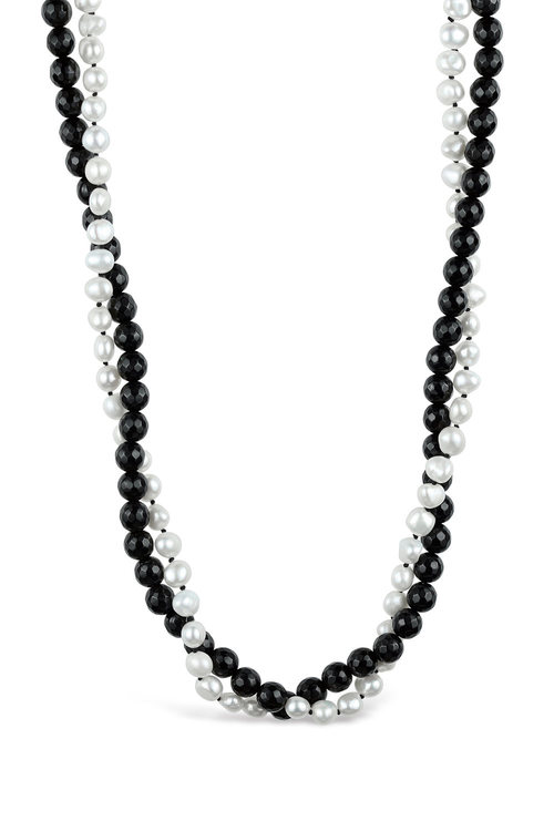 Fairfax and Roberts Baroque Pearl and Onyx Twist Necklace