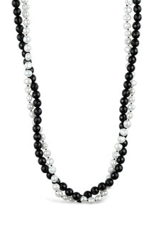 Fairfax and Roberts Baroque Pearl and Onyx Twist Necklace - 250530