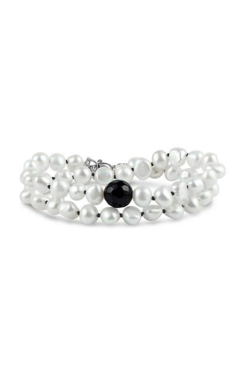 By Fairfax & Roberts Baroque Pearl and Onyx Wrap Bracelet/Choker