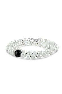By Fairfax & Roberts Baroque Pearl and Onyx Wrap Bracelet/Choker - 250531