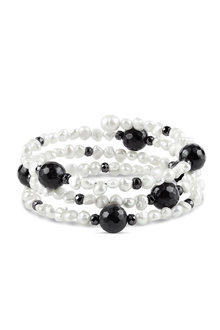 By Fairfax & Roberts Baroque Pearl and Onyx Memory Wire Bracelet