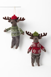 Winter Reindeer Hanging Decorations Set of Two - 250592