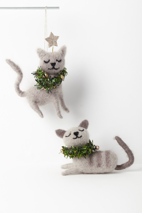 Christmas Cats Hanging Decorations Set of Two