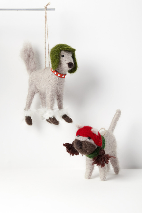 Santas Snowdogs Hanging Decorations Set of Two