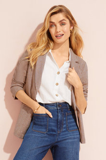 Capture Herringbone Linen Blend Jacket - 250637