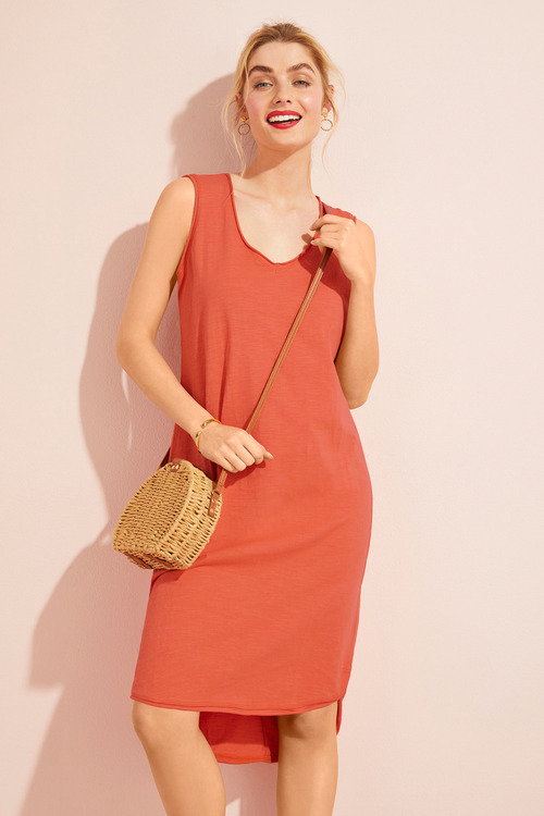 Capture Cotton Slub Sleeveless Shift Dress