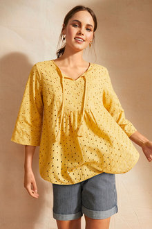 Emerge Broderie Tie Front Top - 250652