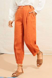 Emerge Linen Cuff Pleat Crop Pant - 250661