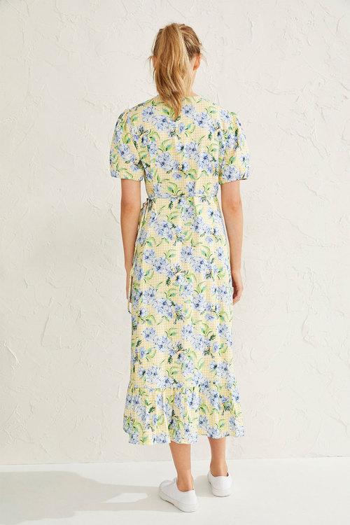 Emerge Linen Blend Midi Wrap Dress