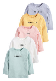 Next 5 Pack Positive Slogan T-Shirts (3mths-7yrs)