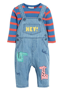 Next Denim Character Dungaree And Bodysuit Set (0mths-2yrs)