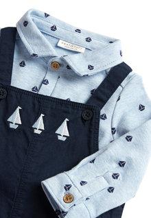 Next Smart Boat Twill Dungaree And Jersey Shirt Body Set (0mths-2yrs)