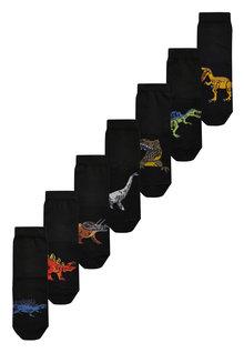 Next 7 Pack Cotton Rich Dinosaur Socks (Older)