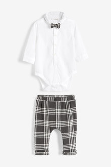 Next Three Piece Smart Shirt Bodysuit, Bow Tie And Trouser Set (0mths-2yrs)