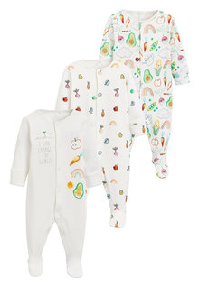 Next 3 Pack Vegetable Print Sleepsuits (0mths-2yrs) - 250827