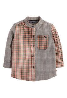 Next Long Sleeve Spliced Check Grandad Shirt (3mths-7yrs)