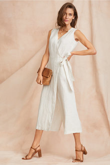 Grace Hill Textured Linen Wrap Jumpsuit - 250882