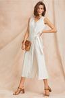 Grace Hill Textured Linen Wrap Jumpsuit