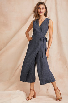 Grace Hill Textured Linen Wrap Jumpsuit - 250882