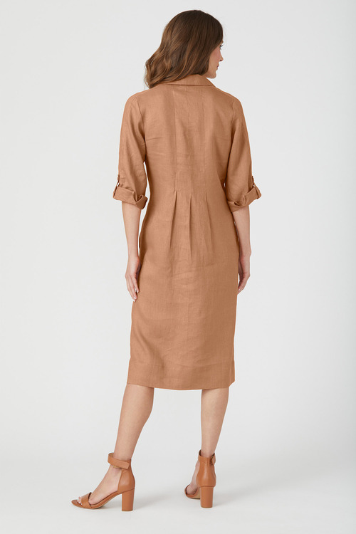 Grace Hill Linen Panelled Midi Dress