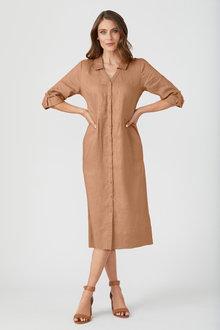 Grace Hill Linen Panelled Midi Dress - 250887