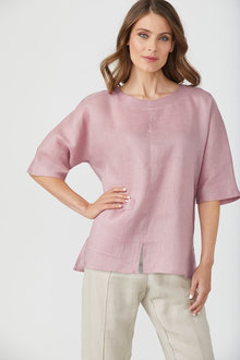 Grace Hill Linen Pocket Top - 250896