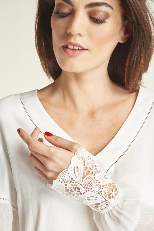 Heine Lace Trim V Neck Top