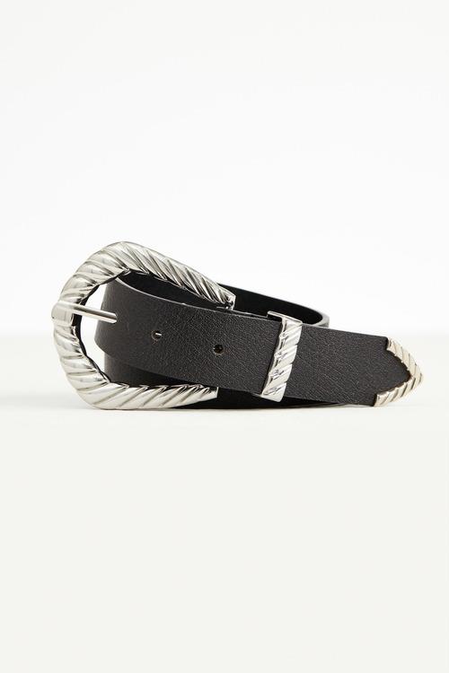Accessories Textured Buckle Leather Belt