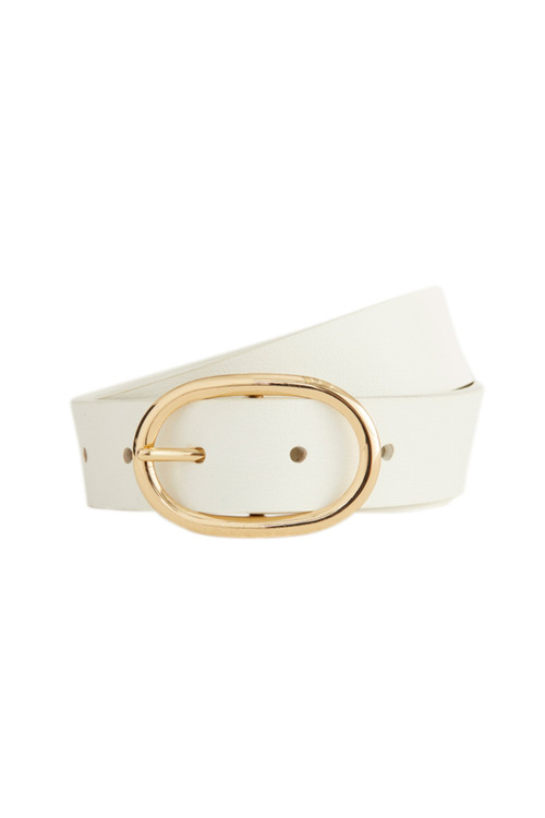 Accessories Oval Buckle Leather Belt