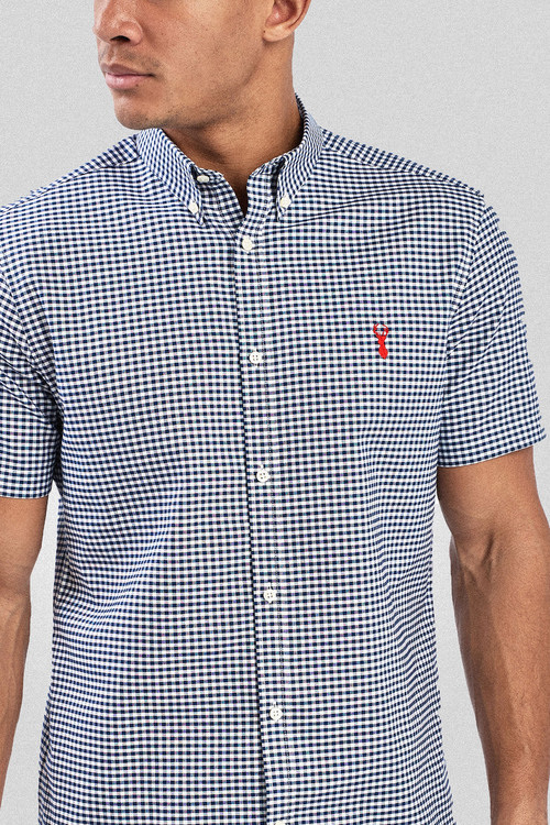 Next Gingham Short Sleeve Stretch Oxford Shirt