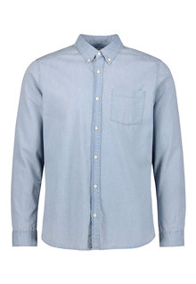 Next Slim Fit Denim Bleach Wash Long Sleeve Shirt