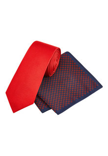 Next Tie With Geometric Pocket Square Set