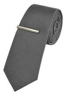 Next Textured Tie With Tie Clip