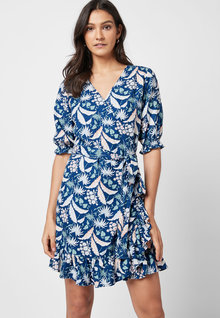 Next Linen Blend Wrap Mini Dress - 251122