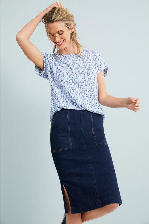 Capture Denim Midi Skirt