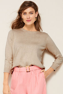 Grace Hill Cotton Cashmere Button Sweater - 251291