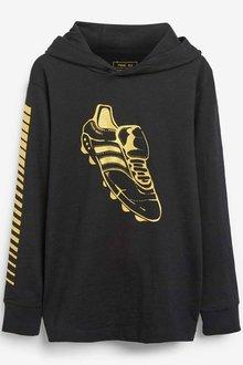 Next Black Football Boot Hooded T-Shirt (5-16yrs) - 251456
