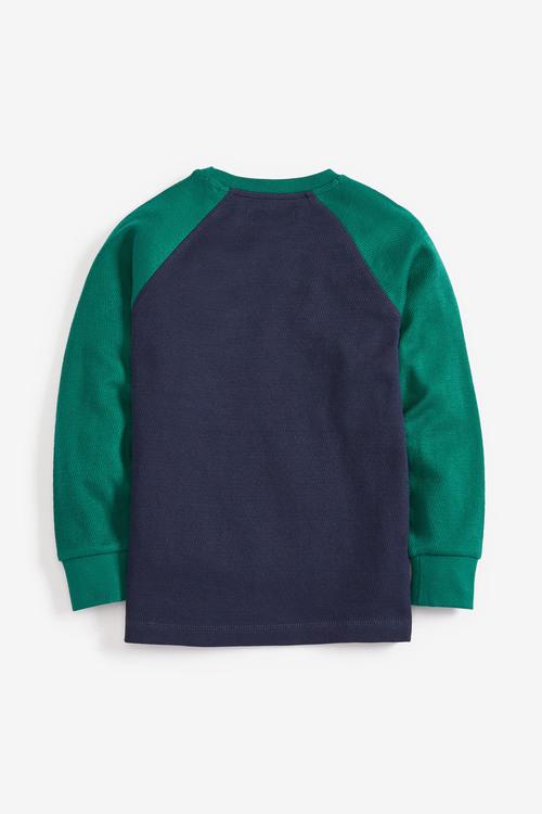 Next Green/Navy Textured Raglan Long Sleeve T-Shirt