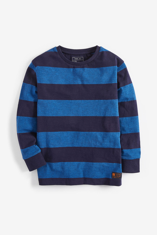 Next Blue/Navy Long Sleeve Stripe T-Shirt