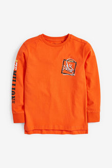Next Orange Dinosaur Long Sleeve Graphic T-Shirt - 251470