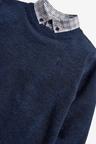 Next Navy Jumper With Mock Shirt Collar