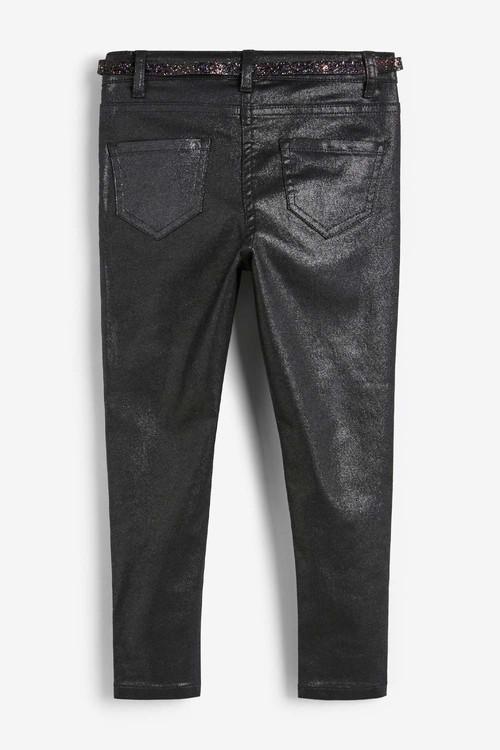 Next Black Sparkle Belted Skinny Jeans (5-16yrs)