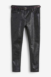 Next Black Sparkle Belted Skinny Jeans (5-16yrs) - 251505